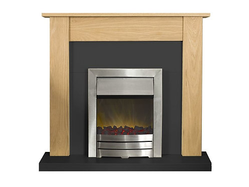 Southwold Fireplace Suite in Oak and Black with Colorado Electric Fire in Brushed Steel