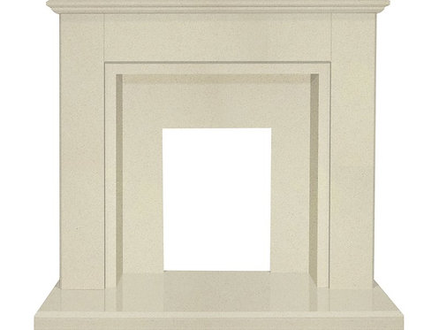 The Melbourne Fireplace in Beige Stone with Downlights, 48 Inch