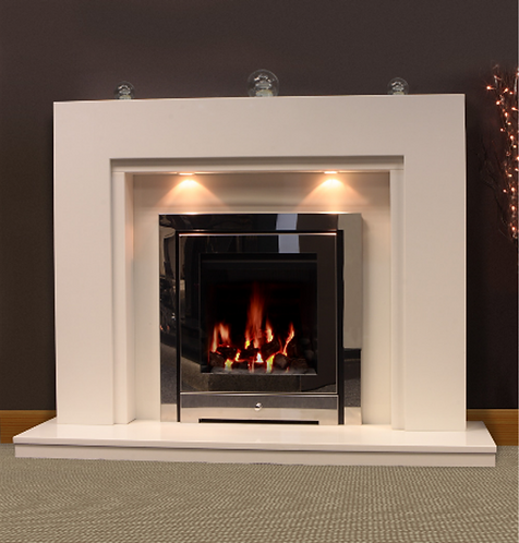 Alden Marble Fireplace Polar White