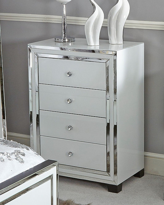 White Boston Mirror 4 Drawer Cabinet
