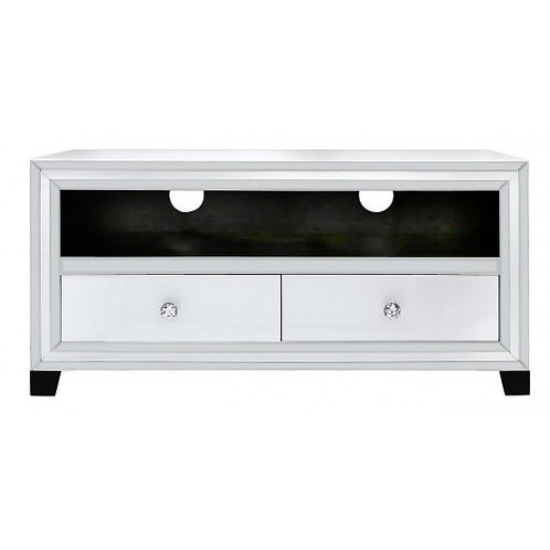 White Boston Mirror 2 Drawer Entertainment Unit