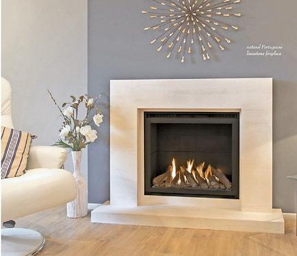 Siri Limestone Fireplace with Anti Reflective Glass Gas Fire