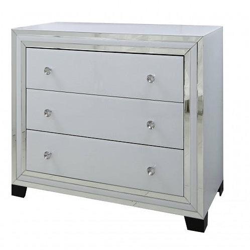 White Boston Mirror 3 Drawer Cabinet