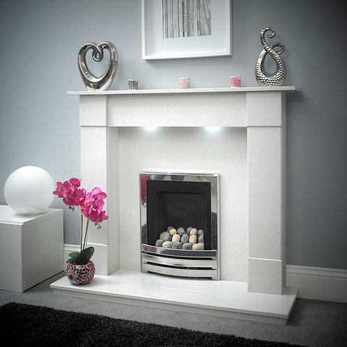 Amara 51 Inch Marble Fireplace White