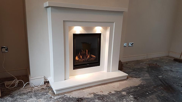 Regan Marble Fireplace Suite with Glass Fronted Gas Fire