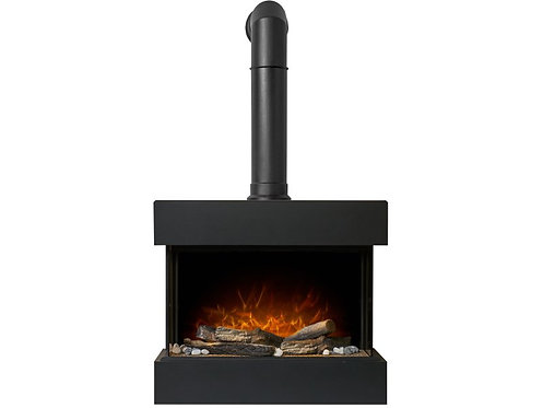 Vega Electric Wall Mounted Fireplace Suite with Stove Pipe in Black