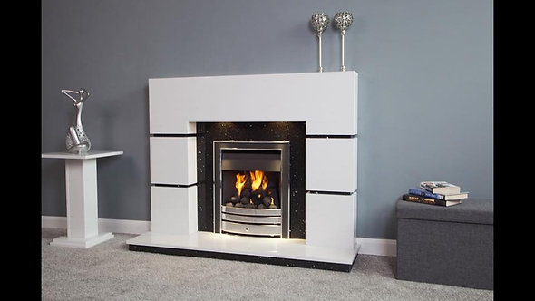Blocks Marble Fireplace White & Black