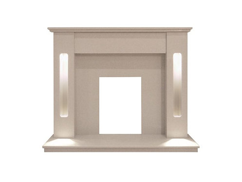 The Hollywood Fireplace in Beige Stone with Downlights, 54 inch