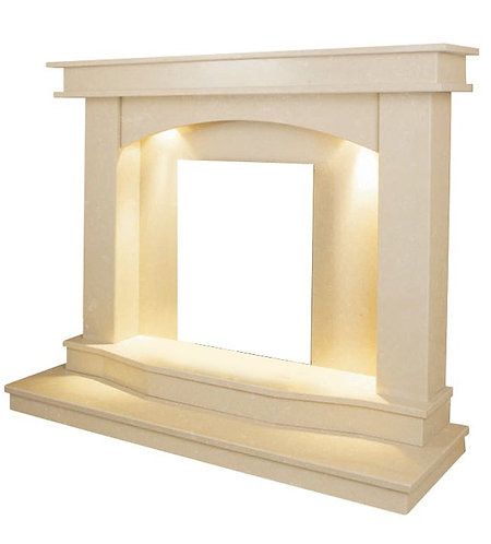 The Turin Fireplace in Roman Stone with Downlights