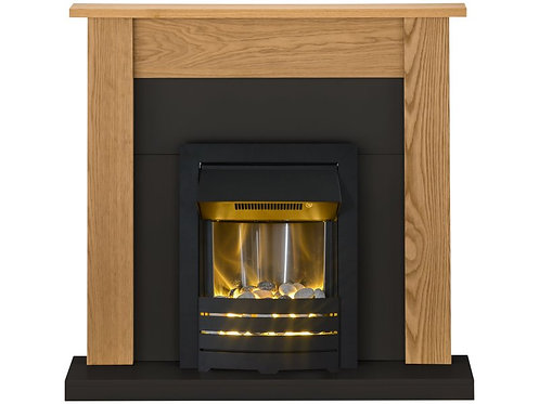 Southwold Fireplace Suite in Oak and Black with Helios Electric Fire in Black