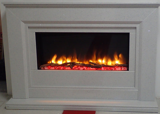 Amari Sparkly Marble Electric Fireplace Suite 48 inch