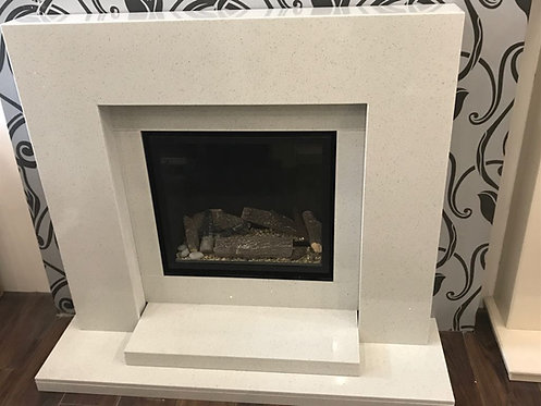 Passion Marble Fireplace shown in sparkly white marble