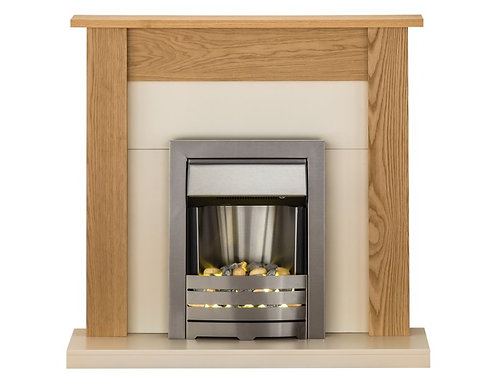 Southwold Fireplace Suite in Oak with Helios Brushed Steel Electric Fire, 43 Inc