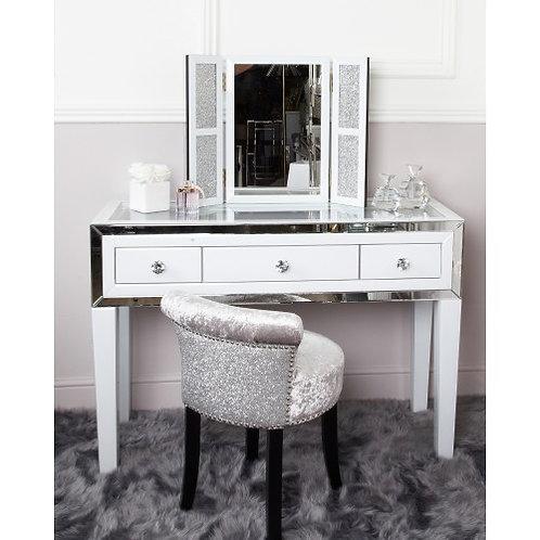 White Boston Mirror 3 Drawer Dressing Table