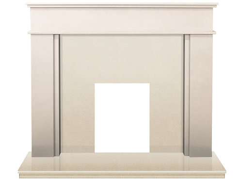The Solo Fireplace in Sparkly White Marble 60 Inch