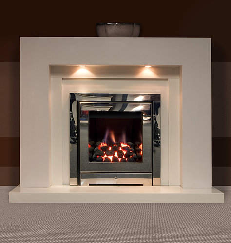 Zelda Marble Fireplace Polar White