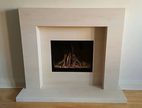 Acer 48 inch Portuguese Limestone Fireplace Suite