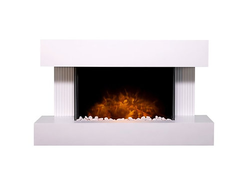 Manola Wall Mounted Electric Fire Suite with Downlights & Remote Control in Pure