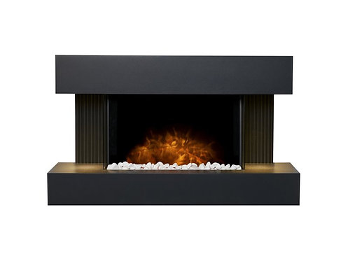 Manola Wall Mounted Electric Fire Suite with Downlights & in Charcoal Grey