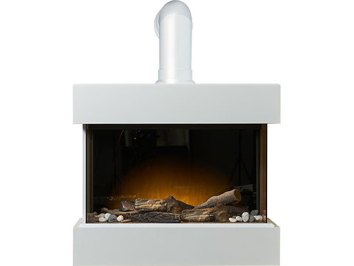 Electric Wall Mounted Fireplace Suite with Stove Pipe in Pure White