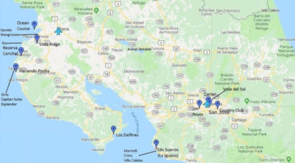 Costa Rica Golf Map