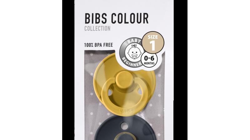 Pack 2 tétines caoutchouc naturel Bibs   Mustard / Dark Denim T1
