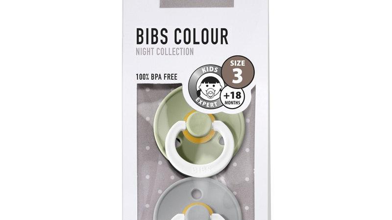 Pack 2 tétines caoutchouc naturel Bibs  Phosphorescentes Sage / Cloud T3