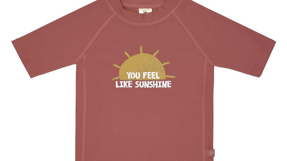 T-shirt Anti-UV Manches Courtes, Rayon de Soleil Bois de Rose- taille 24 mois