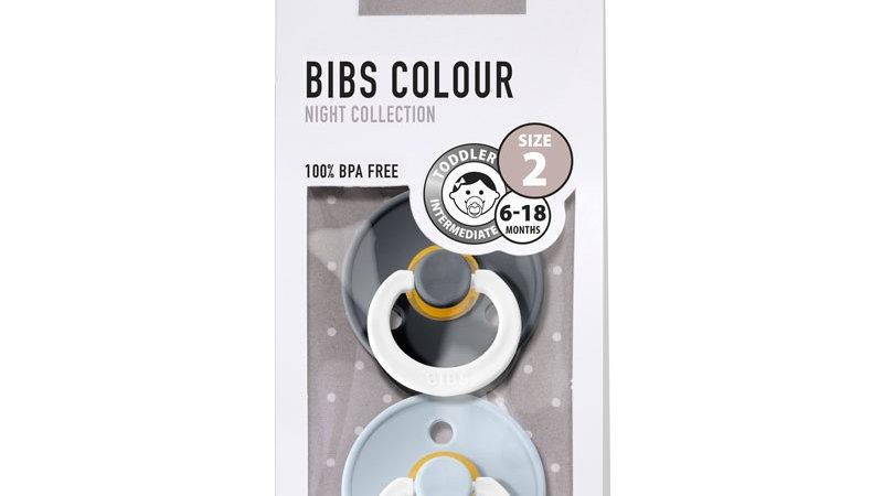 Pack 2 tétines caoutchouc naturel Bibs  Phosphorescentes Iron / Baby Blue T2