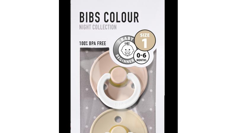 Pack 2 tétines caoutchouc naturel Bibs  Phosphorescentes Blush / Vanilla T1