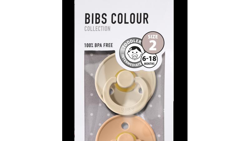 Pack 2 tétines caoutchouc naturel Bibs  Vanilla / Peach T2