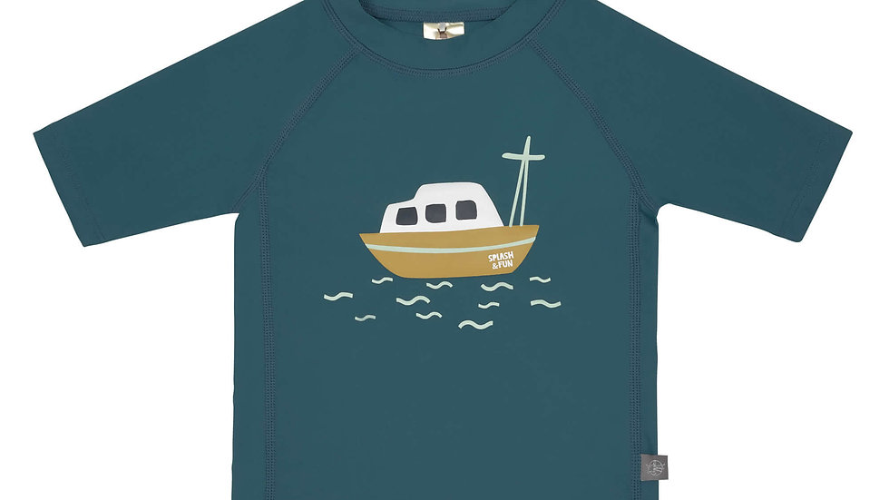 T-shirt Anti-UV Manches Courtes, Bateau Bleu - taille 18 mois ( 86cm)