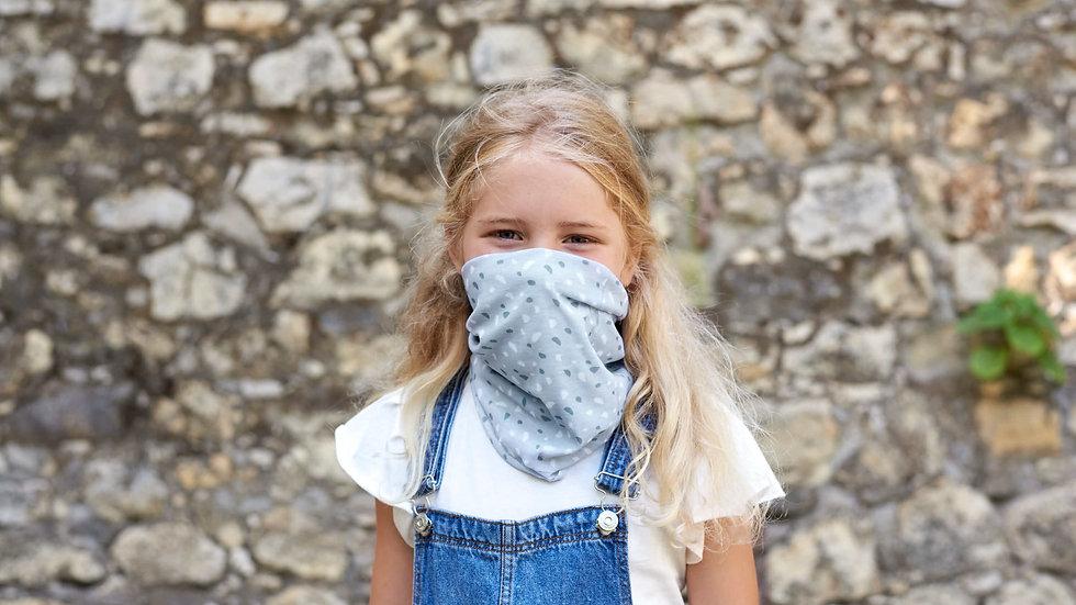 Écharpe enfants - masque réutilisable, à pois gris
