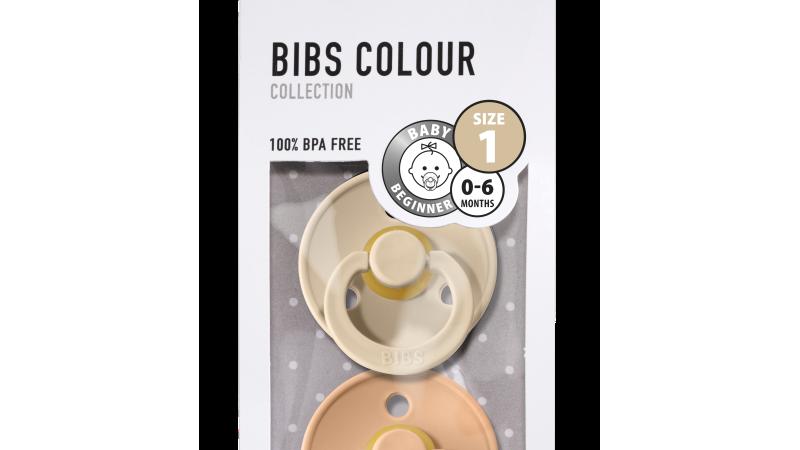 Pack 2 tétines caoutchouc naturel Bibs  Vanilla / Peach T1