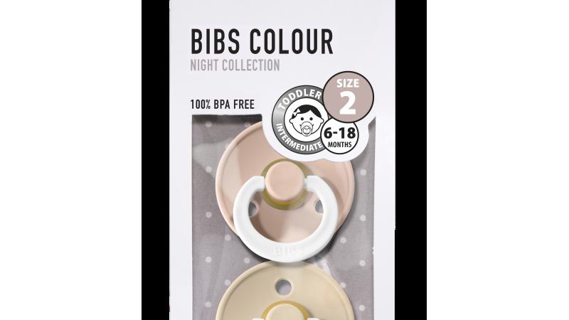 Pack 2 tétines caoutchouc naturel Bibs  Phosphorescentes Blush / Vanilla T2