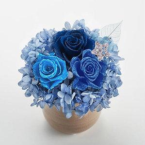ダイヤモンドプリザーブドフラワー・ラッキーラインストーンチャーム(星・ブルー)