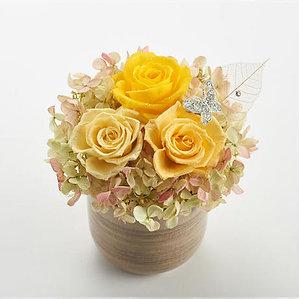 ダイヤモンドプリザーブドフラワー・ラッキーラインストーンチャーム(チョウチョ・黄色)