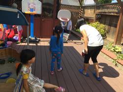 PE- playing basketball