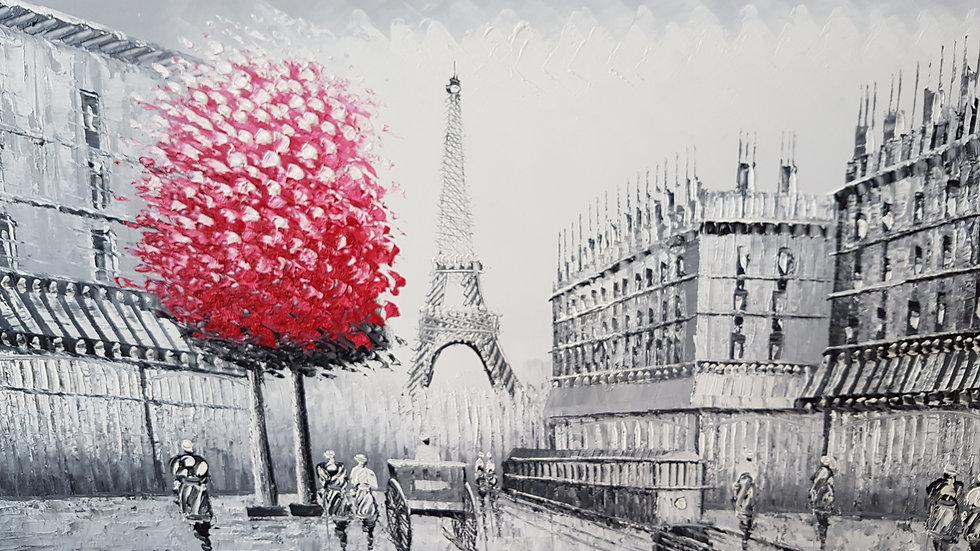 Paris Eiffel Tower With Purple Trees