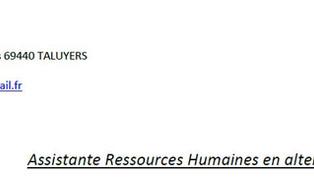 Candidature: Alternance Assistance en Ressources Humaines