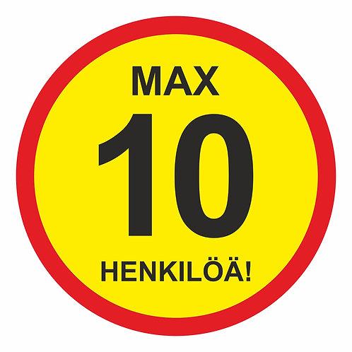 Max 10 henkilöä tarra
