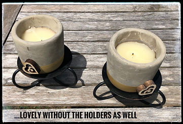 Gold and beige candles w black holders.j