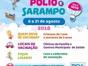 Campanha de vacinação contra poliomielite e sarampo para crianças de 1 a 4 anos vai até 31 de agosto