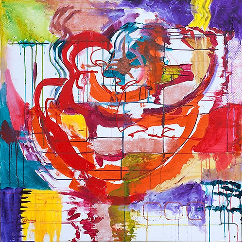 """This painting derives its name from the strong, central orange marks. They were the first I put to canvas and I """"intuited"""", i"""