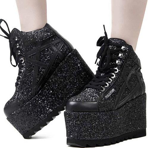 Killstar Plateauschuhe - Malice Glitter Platform SneakersGr. 40