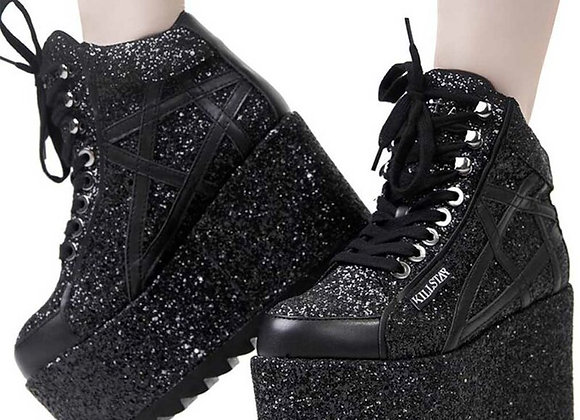 Killstar Plateauschuhe - Malice Glitter Platform SneakersGr.41