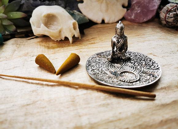 Buddha Räucherstäbli&Räucherkegel Halter