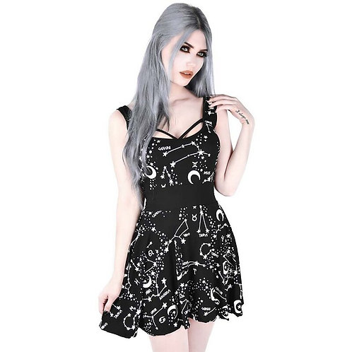 Killstar Sternenprint Skater Kleid - Milky Way Grösse 4XL