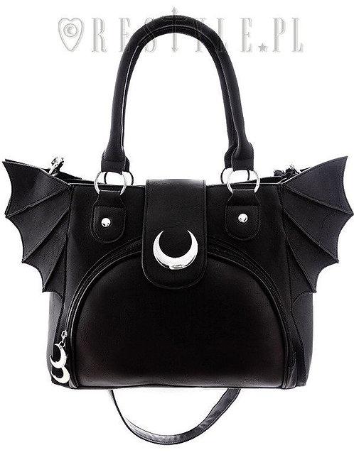 Elegante, gotische Tasche mit Halbmond- und Fledermausflügeln.