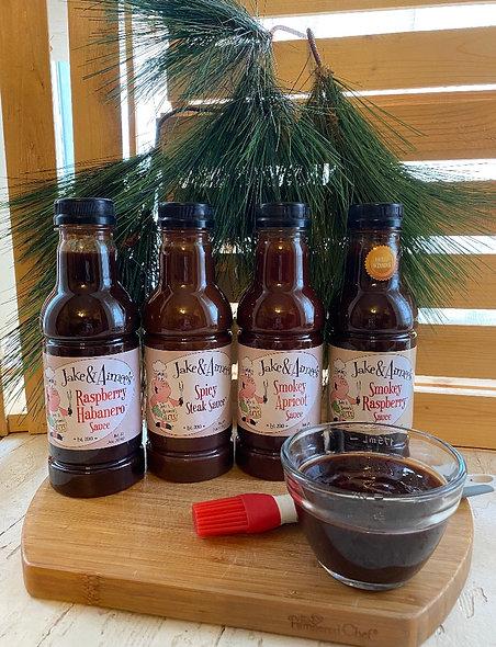 4-pack.Smokey Apricot, Raspberry Habanero, Steak Sauce, Smokey Raspberry 4-16oz